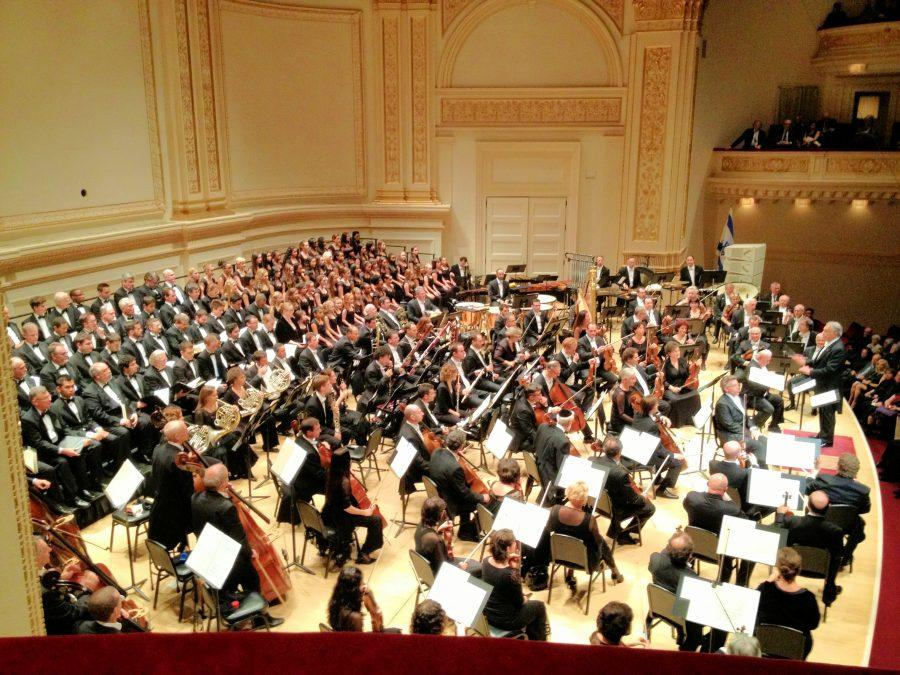 With the Manhattan Girl's Chorus (top right), Brooke Remsen (third row, left) sang at Carnegie Hall in New York City October 25, 2012. Brooke will perform at Carnegie Hall again on February 27. Courtesy of Brooke Remsen '16