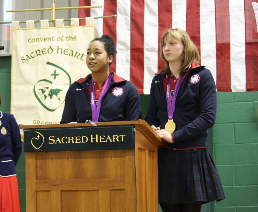 Olympians Katie Ledecky, sophomore at Stone Ridge School of the Sacred Heart in Bethesda, Maryland, and Lia Neal, senior at Convent of the Sacred Heart in New York City, visited Sacred Heart in Greenwich on January 14. courtesy of Alison Brett '13