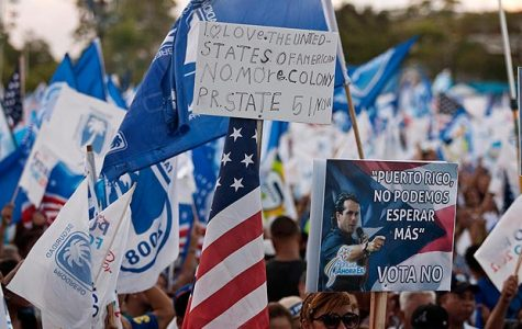 Puerto Rican citizens protest for statehood. courtesy of The Sun