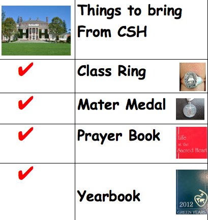 Some of the suggestions of sentimental objects to bring from Convent of the Sacred Heart to college. Courtesy of Claire Uygur '16, Multi Media Design Class