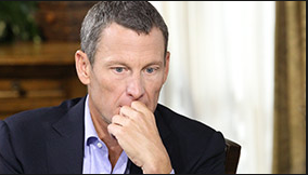Lance Armstrong contemplates the motives behind his illegal doping practices during his interview with Oprah aired on the OWN Network on January 17 and 18 2013. courtesy of oprah.com