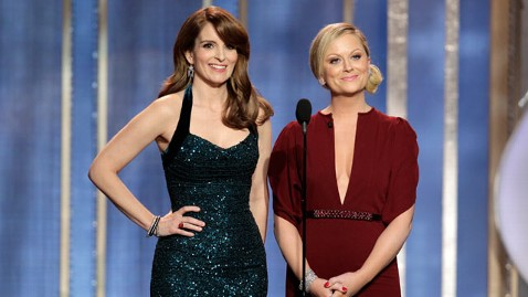 Tiny Fey and Amy Poehler delighted audiences with their humorous commentary and monologues at the Golden Globes on Sunday, January 13. courtesy of Paul Drinkwater/NBC/AP Photo