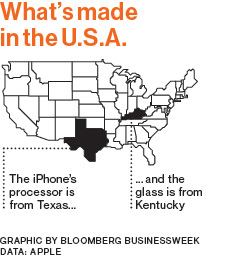 Apple only manufactured in two American states prior to its investment in American manufacturing. courtesy of Bloomberg Businessweek