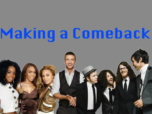 Destiny's Child, Justin TImberlake, and Fall Out Boy are some of the many artists making a comeback. courtesy of Kirsten Parkinson '15