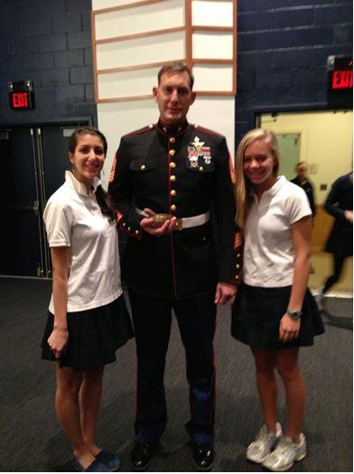 Marine Sergeant visits Sacred Heart