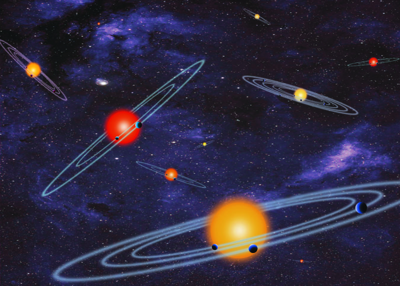 This image depicts multi-planet solar systems, much like the worlds discovered by the Kepler space telescope. Courtesy of www.sciencedaily.com