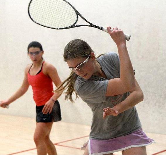 Senior Christie Huchro practicing on the squash courts. Courtesy of Christie Huchro '14