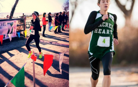 On the left is Emma Sapio, crossing the finish line at the Greenwich Cup Half Marathon. On the right is Emma Church competing in a cross country race as a part of her training for the New York Half Marathon. Cori Gabaldon '15