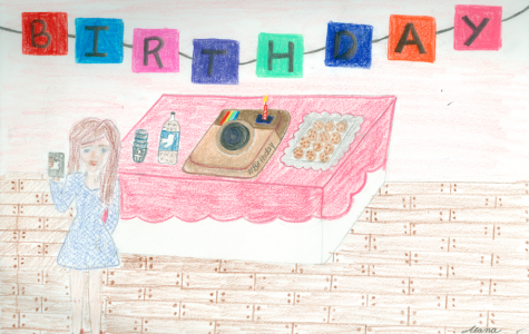 A teen absorbed by technology on her birthday. Courtesy of Alana Galloway '16