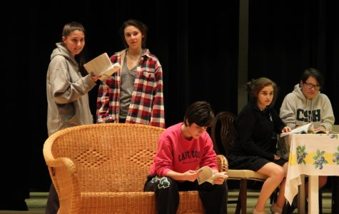 Seniors Kendall Calcano, Bridget Scaturro, and Phoebe Cavise, junior Miranda Falk, and sophomore Eva Carrasquero practice a scene from Act II of the play. Gabrielle Giacomo '15