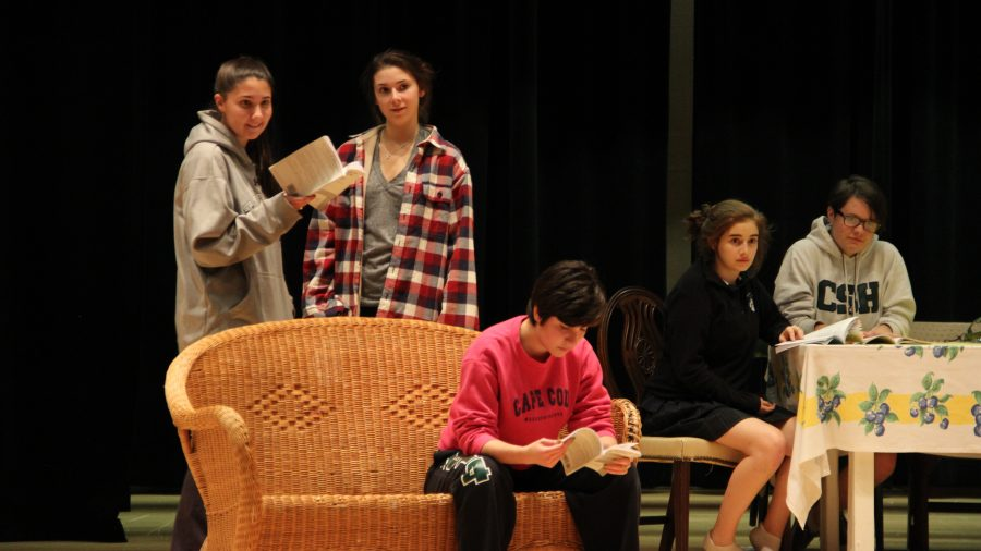 Seniors Kendall Calcano, Bridget Scaturro, and Phoebe Cavise, junior Miranda Falk, and sophomore Eva Carrasquero practice a scene from Act II of the play. Gabrielle Giacomo '15