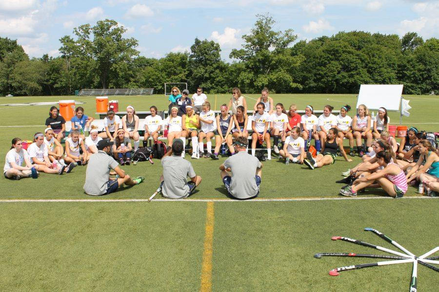 Professional field hockey players and mentors Mr. Mark Knowles, Mr. Jamie Dwyer, Mr. Jaap Stockmann helped lead skills sessions for girls in grades fifth through twelfth alongside Convent of the Sacred Heart varsity field hockey coach Mr. Alexandru Gheorghe when Sacred Heart hosted the JDH Academy clinic August 6. Courtesy of Ms. Kelly Stone, Director of Athletics.