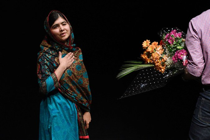 Malala Yousafzai, the youngest recipient of the Nobel Peace Prize, expressed her gratitude at a press conference in Birmingham, England October 10. Courtesy of The New York Times