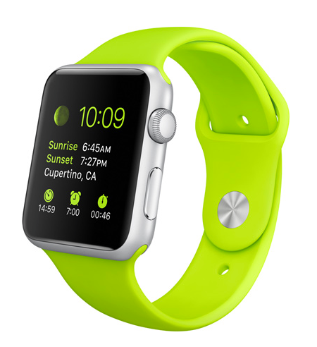 Apple iWatch with 42 mm Silver Aluminum Case and Green Sport Band. Courtesy of Apple.com