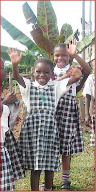 The money raised from the Run for Uganda event will help sponsor girls like these two students at Sacred Heart Primary School in Kyamusansala Hill, Uganda. Courtesy of sophie.org
