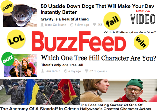 BuzzFeed captures its audience's attention with its variety of news and entertainment articles, quizzes, and videos. Alice Millerchip '15