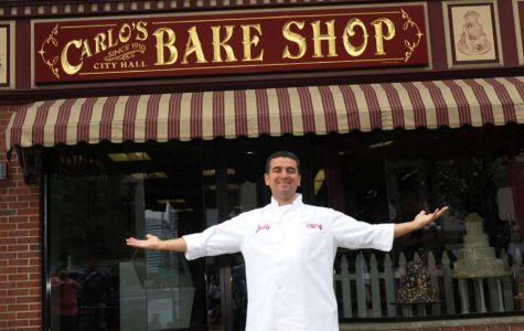 Buddy Valastro, owner of Carlo's Bakery, stands proudly in front of the Hoboken location that is the set of the popular TLC television series. Courtesy of www.google.com
