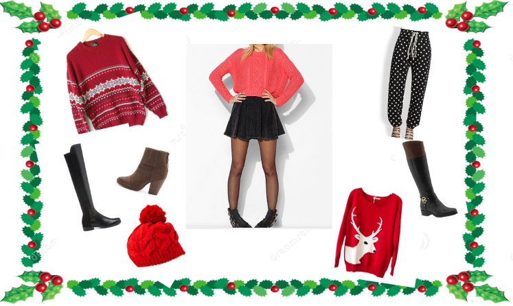 Get ready to show off a stylish winter wardrobe with Christmas sweaters, patterned pants, boots and more. Anna Phillips 13'