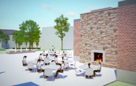 The expanded Student Dining Room's indoor/outdoor fireplace is sure to spark community building. Courtesy of <em>cshct.org</em>