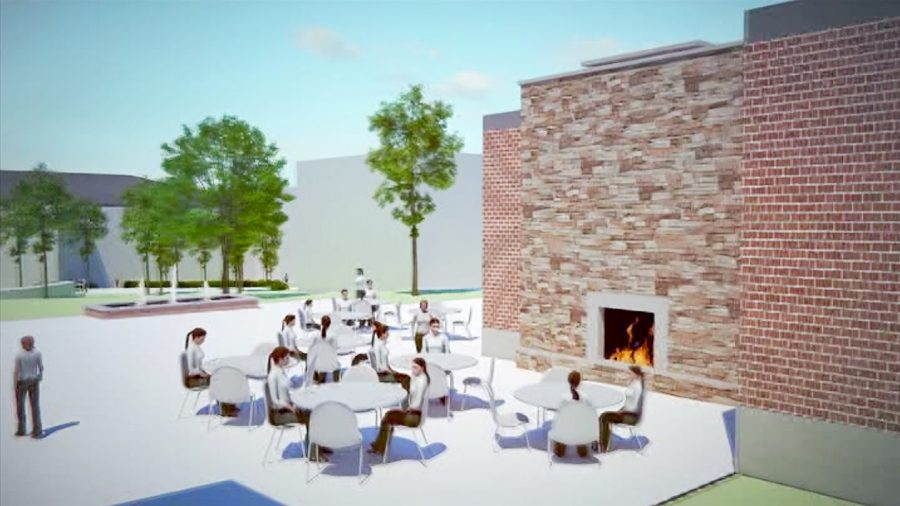 The expanded Student Dining Room's indoor/outdoor fireplace is sure to spark community building. Courtesy of cshct.org