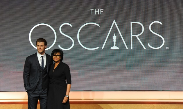 Thor star Chris Hemsworth and Academy of Motion Picture Arts & Sciences president Cheryl Boone Isaacs announce the 2014 Academy Award nominees at the AMPAS Samuel Goldwyn Theater January 16, 2014.