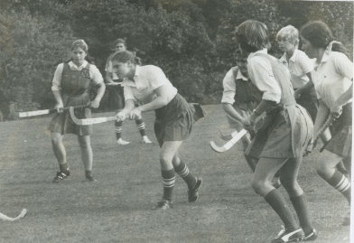 Convent of the Sacred Heart Greenwich students partake in a field hockey game in 1980. Courtesy of School Archives.