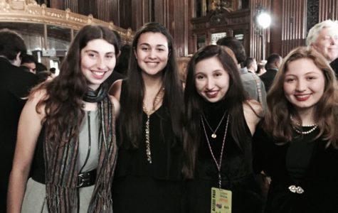 Kira Bursky, Claire Uygur '16, Gigi Cahill '16, and Fiona Cahill '17 at the All American High School Film Festival in New York City. Courtesy of Gigi Cahill '16