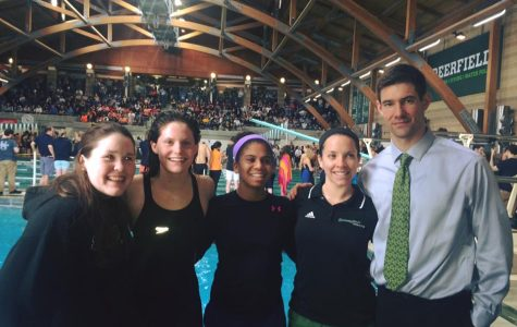 Seniors Lizzie Considine, Erin Schick, Grace Campbell, Ms. Dawn Macri, and Mr. celebrate at the NEPSAC swimming champions Courtesy of Lizzie Considine '16