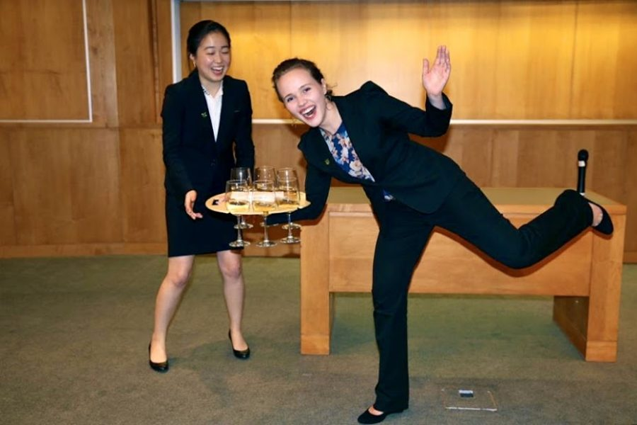 Krystyna Miles 12 and her Tray Bien business partner at the Dartmouth Ventures Entrepreneurship Contest. Courtesy of Krystyna Miles 12.