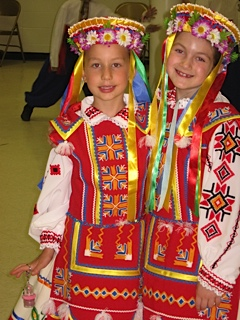 Sophomores Zoryana Makarenko and Emily Lencyk in 2009 at the Ukrainian festival in Yonkers, New York wearing traditional costumes for their dance recital. Courtesy of Emily Lencyk '17.