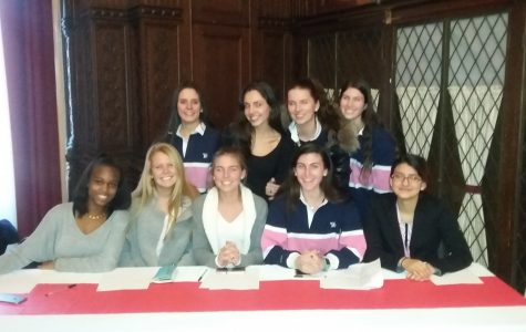 Members of the Sacred Heart Ethics bowl gather before Finals at Manhattanville College January 30. Courtesy of Mrs. Bader.