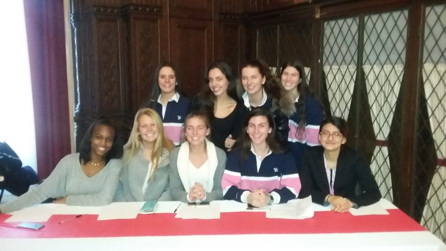 Members+of+the+Sacred+Heart+Ethics+bowl+gather+before+Finals+at+Manhattanville+College+January+30.%0ACourtesy+of+Mrs.+Bader.
