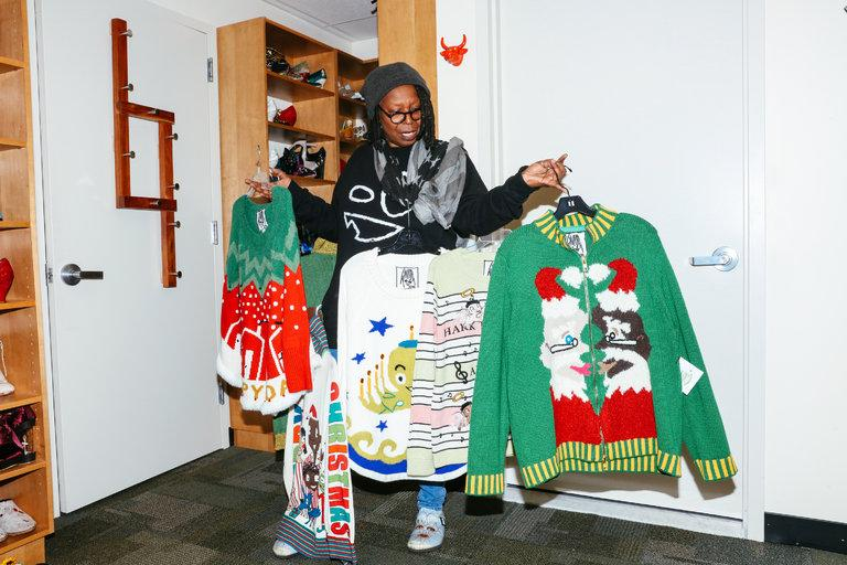 Mrs.+Goldberg+shows+off+her+new+nine+Christmas+sweater+designs.%0ACourtesy+of+The+New+York+Times+