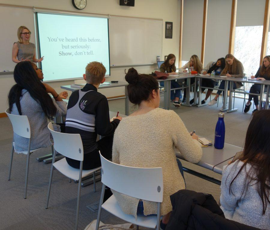 Students practice writing profiles in Ms. Caroline Kitchener's journalistic workshop. Courtesy of Grace Zhao Greenwich Academy '18