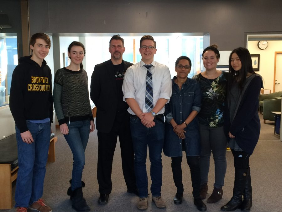 Authors+Bryan+Crandall%2C+Jordan+Windholz%2C+and+Martha+Southgate+gather+with+students+from+Greenwich+Academy+and+the+Brunswick+School+after+the+Greenwich+Writers+Festival.+Courtesy+of+Upper+School+English+Teacher+Cristina+Baptista.