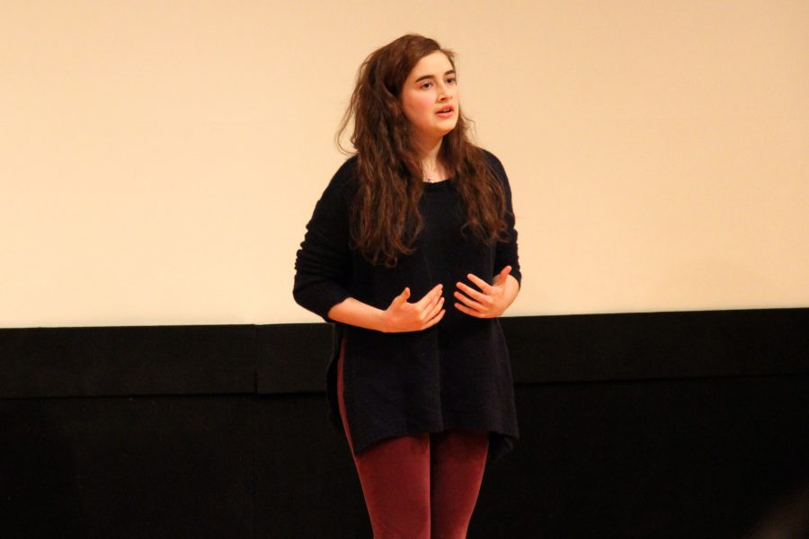 Senior Miranda Falk recites one of Lady Anne's monologues from Shakespeare's play Richard III at the thirty-first annual Shakespeare Competition. Alana Galloway '16