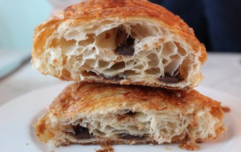 The fluffy and buttery chocolate croissant from Bistro Versailles. Karina Badey '19