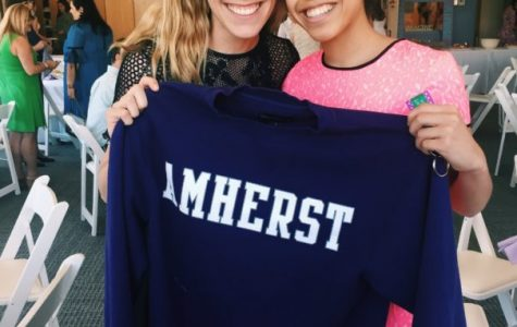 Senior Arielle Kirven discusses Amherst College with Sacred Heart and Amherst College alumna Mrs. Hannah Miracola. Courtesy of Arielle Kirven '17