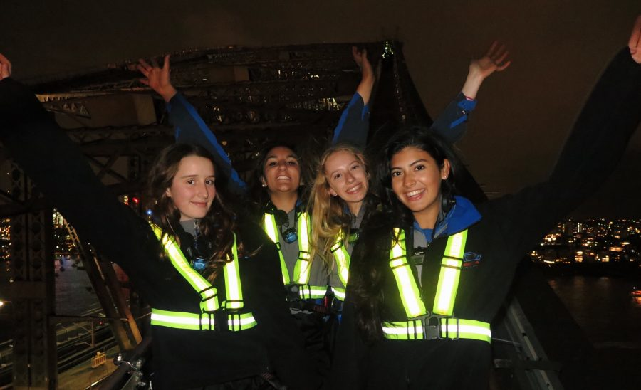 From left to right: Lara Taylor, Olivia Wise '19, Olivia Maganas, and Katherine Santoro '19 climb the Harbor Bridge while on exchange in Sydney, Australia Courtesy of Katherine Santoro '19