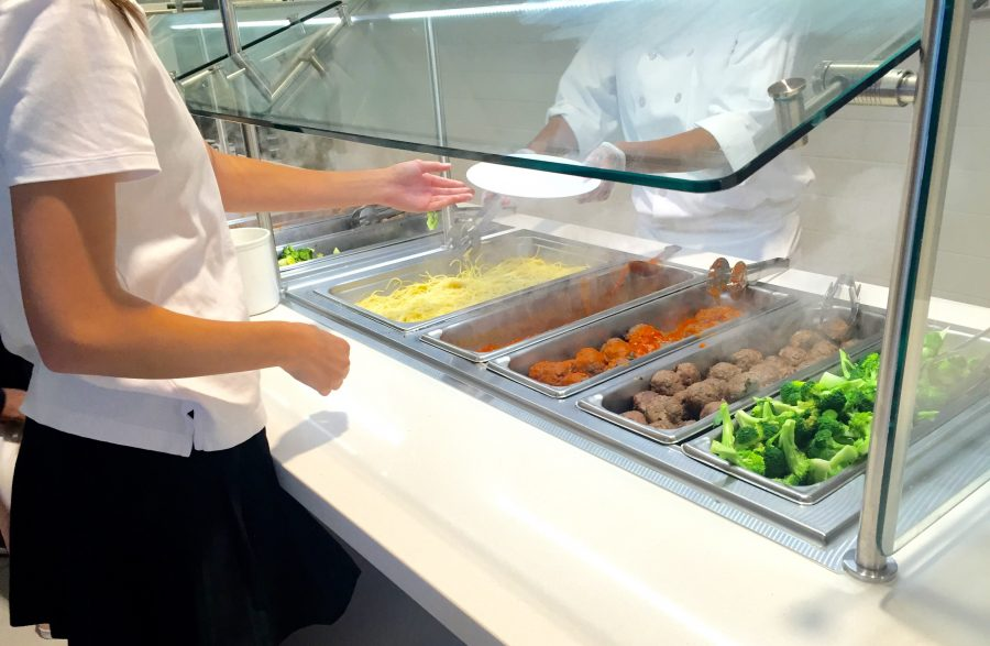 A popular hot lunch at Sacred Heart is pasta and meatballs with broccoli. Jackie Shannon '18