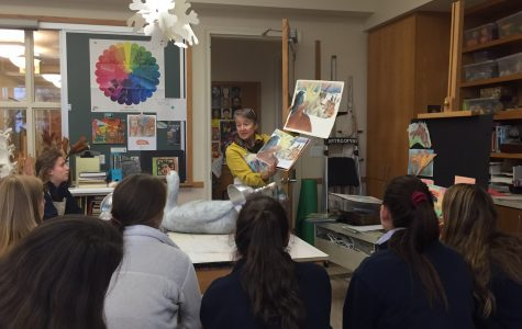 Ms. Raye teaching an Upper School art class. Katie McCabe '18