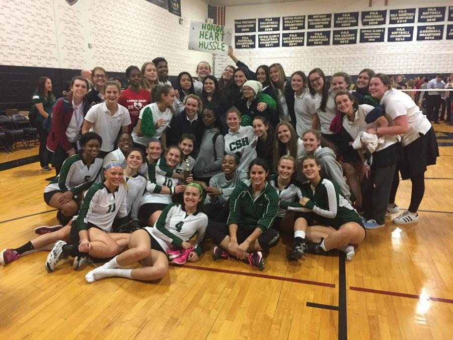 Sacred Heart varsity volleyball team after their loss in the FAA finals. Courtesy of Tasha Adison