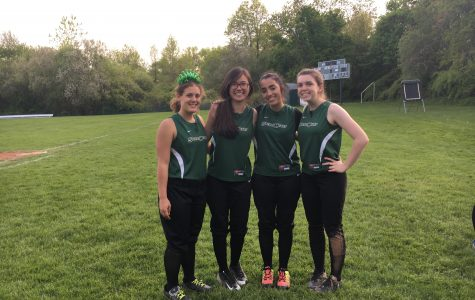 Seniors Genevieve Capolongo, Alexandra Yu, Katherine Sepulveda, and Morgan Johnson celebrate softball senior day. Courtesy of Bridget Murphy '18