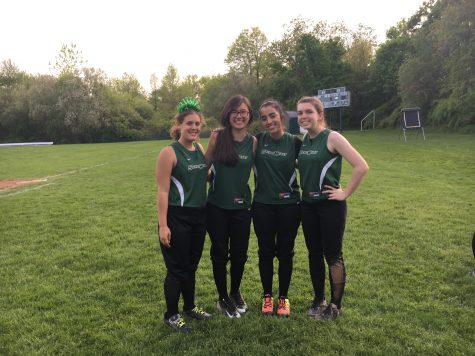 Seniors Genevieve Capolongo, Alexandra Yu, Katherine Sepulveda, and Morgan Johnson celebrate softball senior day. Courtesy of Bridget Murphy