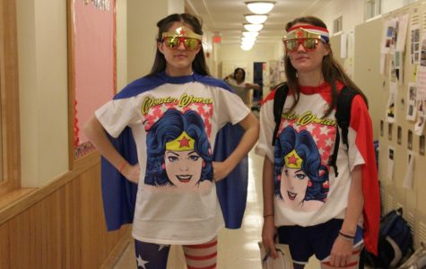 Juliette Guide '17 and Quinn Butler '17 win best dressed in their Wonder Woman costumes Taken by Maggy Wolanske '18