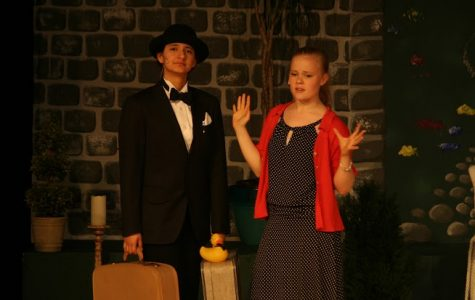 Seniors Nebai Hernandez-Carmona and Lydia Currie perform a scene from Jeeves in Bloom. Courtesy of Miss Danielle Gennaro '05