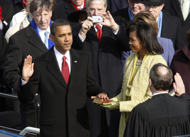 Barack Obama takes the Oath of Office as the 44th president of the United States of America. Courtesy of Reuters.