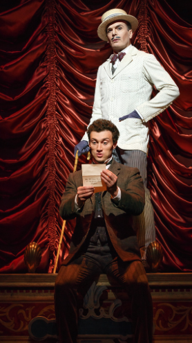 Co-stars of the Tony-Award winning musical, A Gentleman's Guide to Love and Murder, Mr. Bryce Pinkham and Mr. Jefferson Mays bring laughs, cries and gasps to their audiences. Photo courtesy of agentlemansguidebroadway.com.