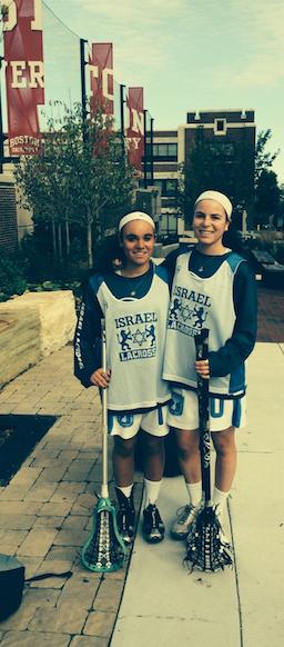 Emma Novick '15 and her twin sister Matty Novick don Israel lacrosse apparel at a lacrosse showcase in Boston, Massachusetts. Emma Novick '15
