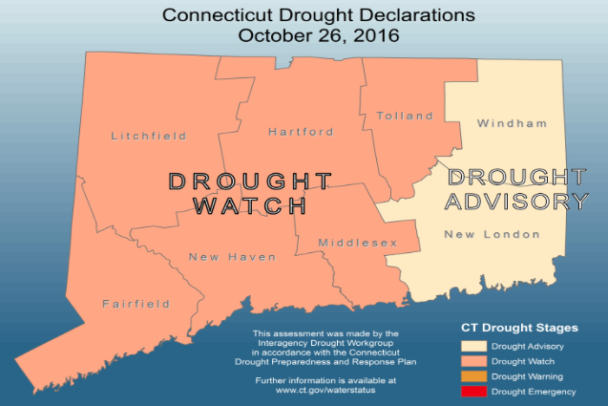 Map of drought status by county in the state of Connecticut. Courtesy of ct.gov